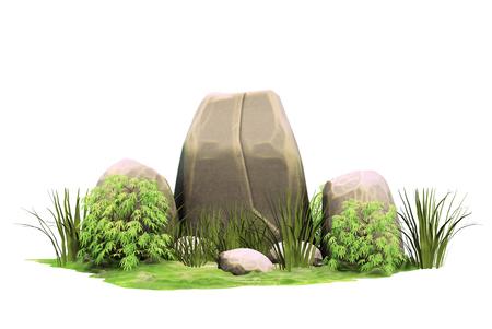 Large natural stones. Stone pointer. Garden design. A rock. 3d rendering.