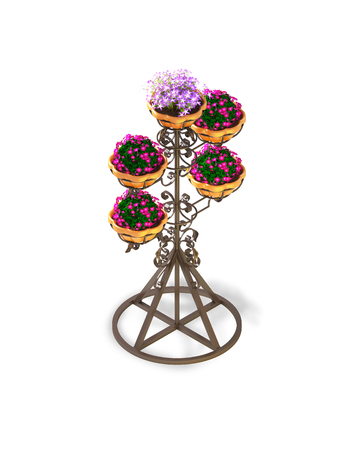 Isometric. Metal pot with flowers on a white background.  Classic street pot on a white background. 3d rendering. Stock Photo