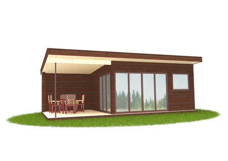 Summer gazebo on a white background. Alcove. Isolated. 3d illustration. Perspective view from the front.