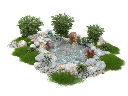 3D illustration of a decorative pond on a white background. Isolated. 版權商用圖片
