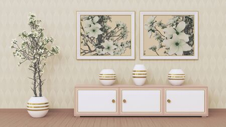 2 places to insert images. Interior with furniture, a flower in a pot and scenery. 3d rendering.