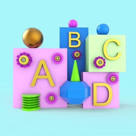 Composition from a set of geometric shapes and letters. 3d rendering.