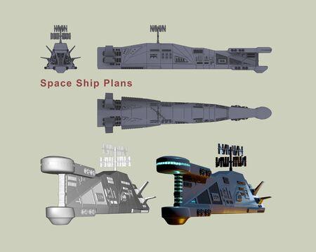 Plans Space Ship. 3d render