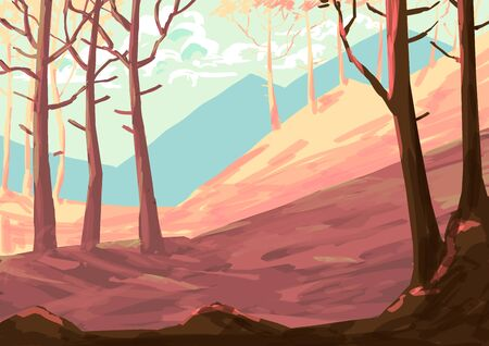 Illustration on the theme of water and mountains. Stok Fotoğraf