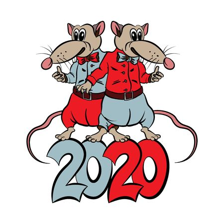 New 2020 year. Happy holiday. Vector. Two mice in clothes. Archivio Fotografico - 137845452