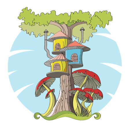 Cartoon house in a tree and with red mushrooms around. Vector.
