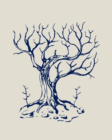 Old mystical tree without foliage. Vector. Black and white.