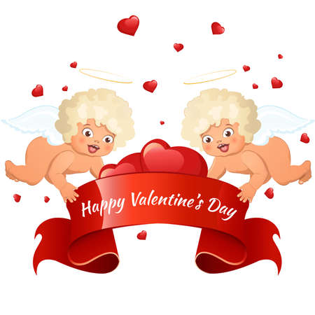 14: Valentines Day card with cupids and hearts