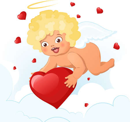 cupids: Valentines Day card with cupids and hearts