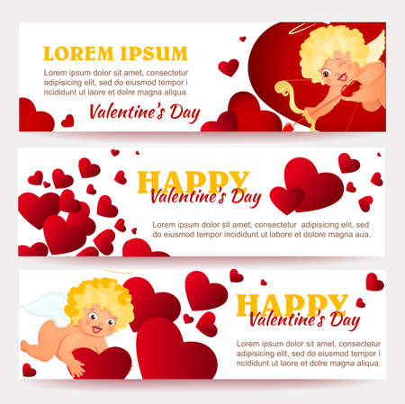 Valentines Day card with cupids and hearts