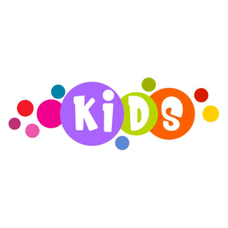 Abstract kids Icon with colorful circles and letters in them on white background. Design template icon for children's toys store, kids zone and center, school and prescool.Vector illustration. Ilustracje wektorowe