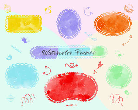 Abstract art watercolor cute colorful frames for logo with paint bright background. Creative design template with doodle for funny kids event and invitation card. Vector borders childrens illustration