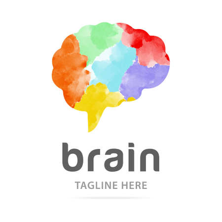 Abstract art watercolor human brain logo with paint colorful background. Creative design template sign mind, symbol people IQ, art therapy, icon brain. Logotype startup, business development company.