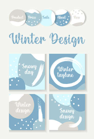 Abstract winter template snow backgrounds for post and stories social media banner. Snowy frame templates.Vector cover.Mockup for personal blog or shop.Layout for promotion.Endless square photos puzzle