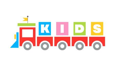 Funny Kids toy railway Train cartoon flat design Template icon kindergarten, sign playground