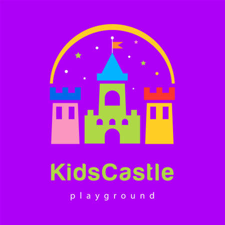 Abstract kids city playground, kids zone icon, king castle sign, bastion symbol with rainbow.
