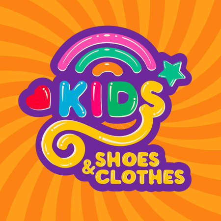 Amusing Lettering Kids shoes and clothes colorful children cartoon logo with rainbow on bright background.Design template icon kid shop, clothing store, sign childhood, symbol baby.Vector illustration
