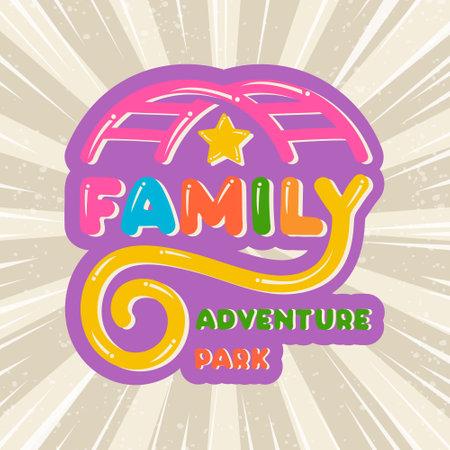 Amusing Lettering family adventure park pastime colorful kids cartoon logo, icon children amusement park, sign playground, symbol roller coaster car bright background.Baby childhood.Vector illustration