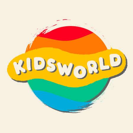Abstract amusing bright circles oval kids zone logo, childhood planet sign, kids club icon, playground symbol.Design templates kid shop, toy store, kindergarten, kids city.Vector illustration hand drawn. Logo