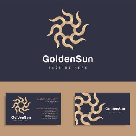 Vector circle golden icon sun logo design template sign for boutique hotel, restaurant, jewelry, wellness spa club, premium beauty salon, travel tourism agency. Sun symbol with lights.