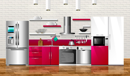 Kitchen and house appliances. Vector illustration design. Household kitchen appliances: cabinets, shelves,gas stove, cooker hood, refrigerator, microwave, dishwasher, cookware Иллюстрация