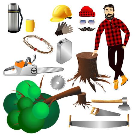 logger: Equipment lumberjack hipster.Vector elements icons vector illustration on a white background. Lumber