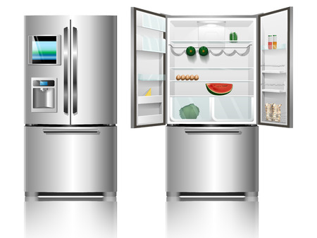 fridge: Open fridge. Closed fridge. Illustration
