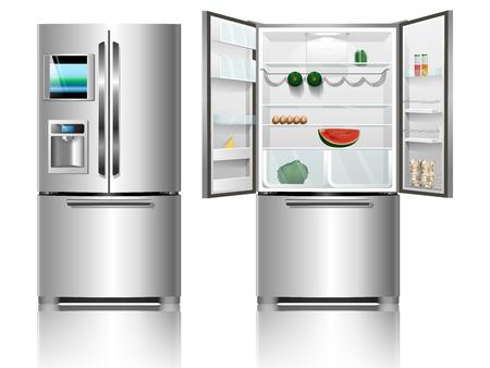 Ouvrir un réfrigérateur. réfrigérateur fermé. Vecteurs