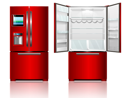 technic: Red open and closed fridge. Vector illustration refrigerator