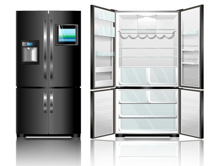 Open en gesloten zwarte koelkast. Vector illustratie moderne koelkast op een witte achtergrond.