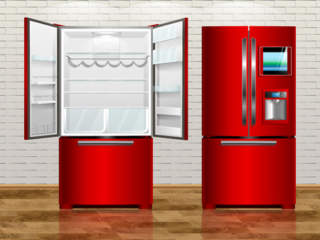 household goods: Rad open modern fridge. Rad closed modern fridge. Vector illustration fridge of the interior. Illustration
