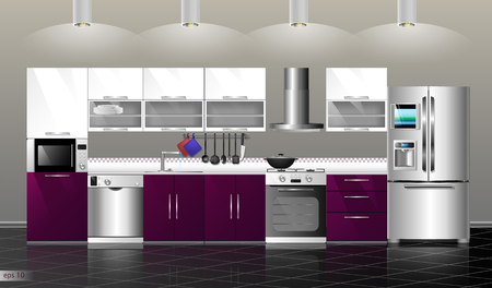 refrigerator kitchen: Modern kitchen interior. Vector illustration kitchen purple. Household kitchen appliances: cabinets, shelves,gas stove, cooker hood, refrigerator, microwave, dishwasher, cookware