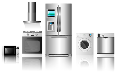 technics: Vector illustration isolated on white background.Kitchen home appliances. Set of household technics: washing machine, dishwasher, electric oven, extractor hood, microwave and refrigerator