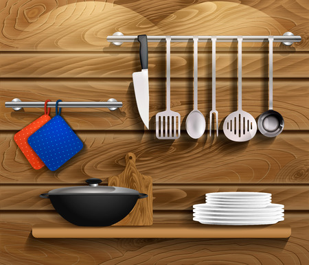housewares: Kitchen tools with kitchenware. Shelf on a wooden wall with utensils, wooden board and pan. Vector Illustration