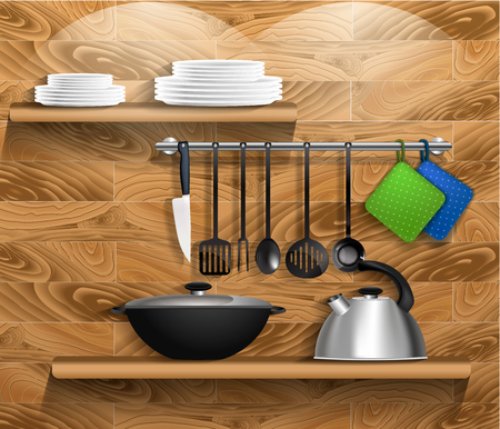 kitchen tools: Kitchen tools with kitchenware. Shelf on a wooden wall with utensils, kettle and pan. Vector