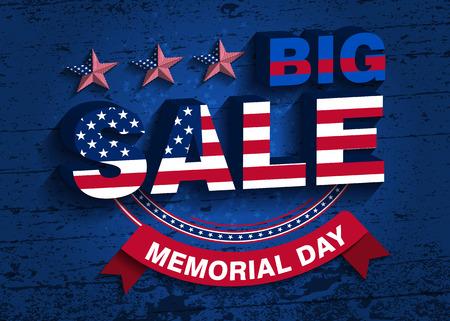 big sale: Memorial Day. Big Sale Vector Illustration