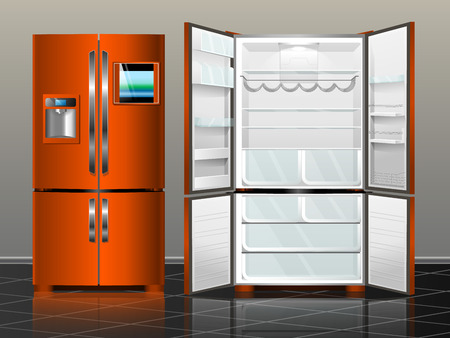 household goods: Open fridge with freezer. Closed fridge. Vector illustration orange modern fridge of the interior.