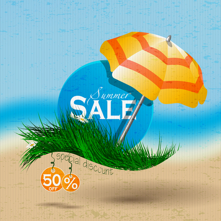sammer: Sammer sale.Caption discount on the blue circle placed on the grass under an umbrella on a background of the sea and the beach