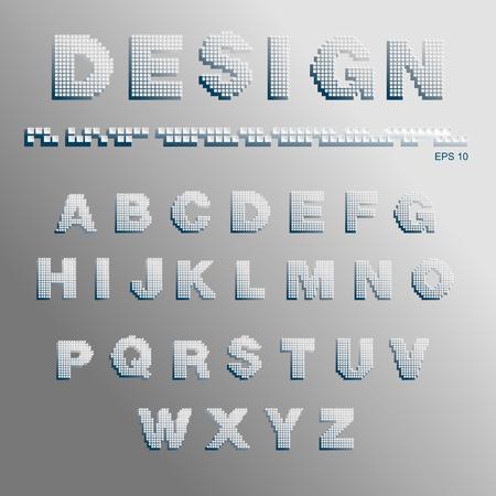 pixels: Alphabet consisting of pixels Illustration