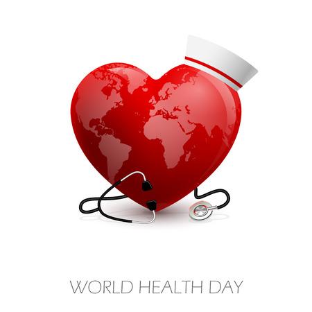 Vector illustration of heart stethoscope and medical headdress. World Heart Day