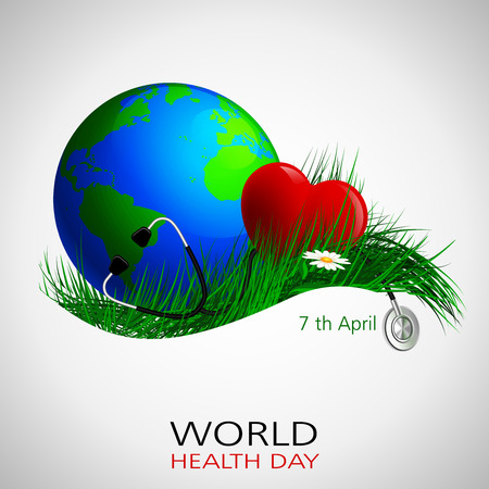 stethescope: Vector of concept for World Health Day with stehescope, globe and health on grass