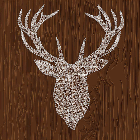 floorboard: Vector illustration of a silhouette of deer thread. Drawing on a wooden background
