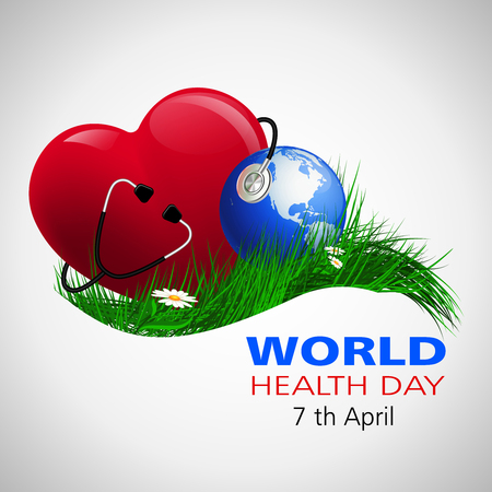 stethescope: World Health Day. Vector composition of the heart of the globe and a stethoscope on the grass with camomiles, located on a white background Illustration