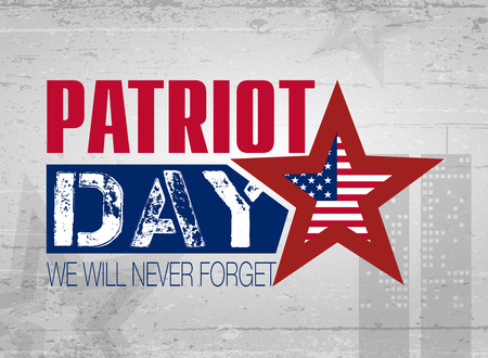tribute: Patriot Day. Lettering. 11 th September. Poster, cards, banners, template Illustration