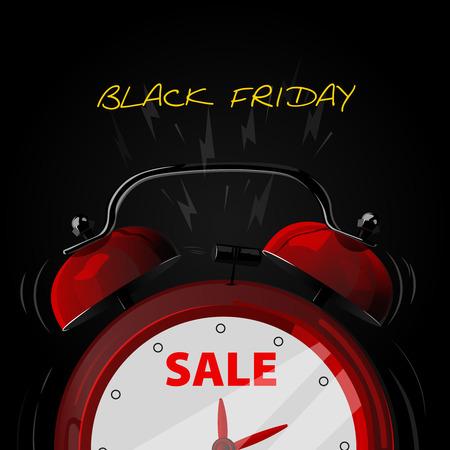 Sale alarm clock. Black friday background