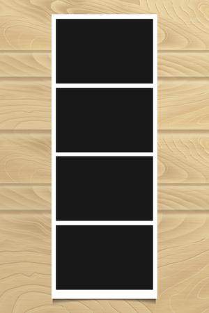 Photo frame on  wooden texture. Vector illustration.