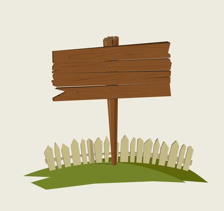 Wooden village sign.Vector illustration