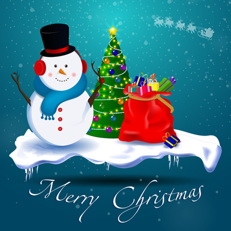 Merry Christmas! Snowman, Christmas tree, a bag of gifts on a snowy standing substrate. Snow falls. Illustration