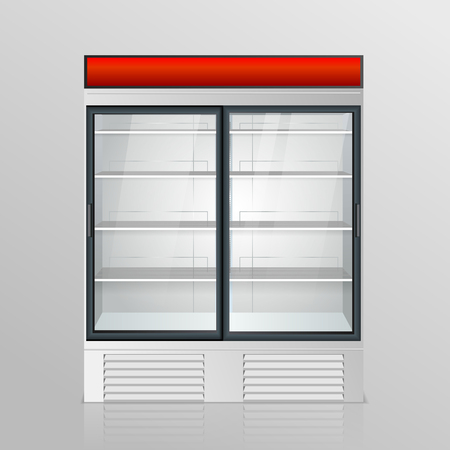 stage door: Fridge with transparent glass isolated. Refrigerator showcase on white background. Vector Illustration