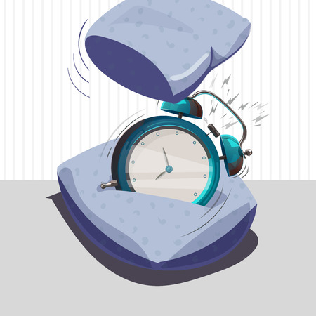 Ringing alarm clock. Pillow has a alarm clock. Vector illustration. Isolated object Illustration
